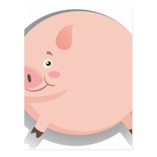 Fat pig with happy face postcard