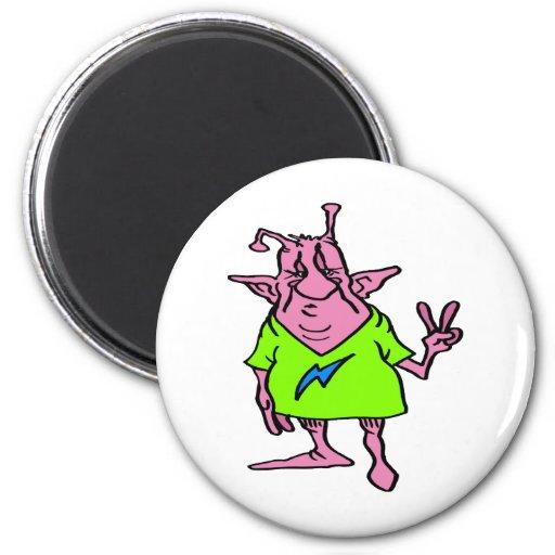 Fat Pink Hippie Alien 2 Inch Round Magnet