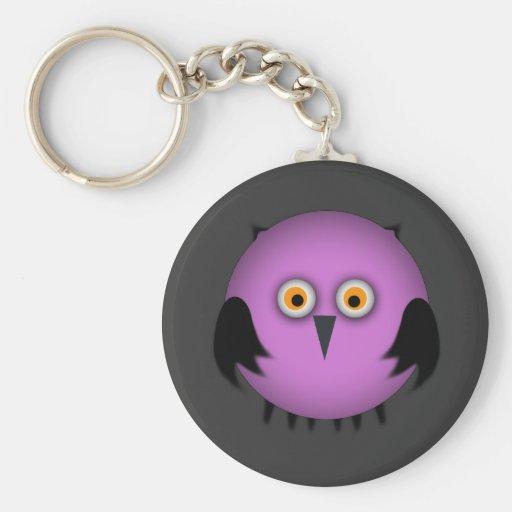 Fat Pink Owl Keychain