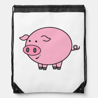 Fat Pink Pig Drawstring Bag