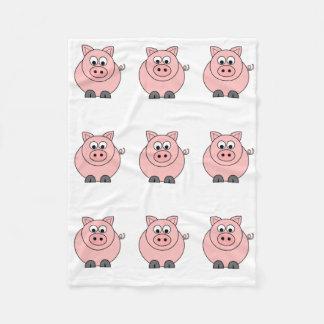 Fat Pink Pig Fleece Blanket