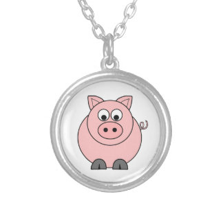 Fat Pink Pig Silver Plated Necklace