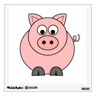 Fat Pink Pig Wall Decal