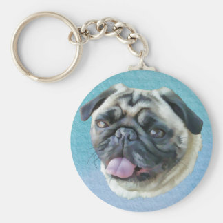 Fat Pug Portrait Key Chain