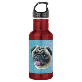Fat Pug Portrait Water Bottle