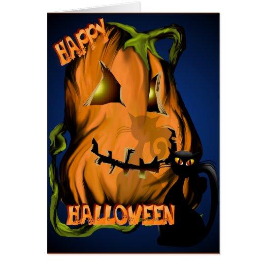 Fat Pumpkin and Black Kitty Card
