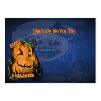 Fat Pumpkin and Black Kitty ,invitation_5x7_hor... Card