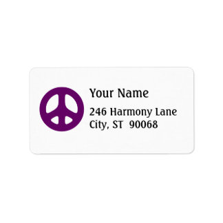 Fat Purple Peace Sign Custom Address Label