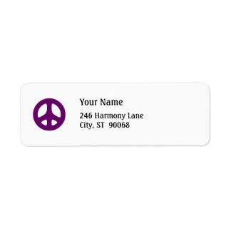 Fat Purple Peace Sign Custom Return Label