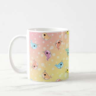 Fat Rainbow Narwhal Pattern Classic White Coffee Mug