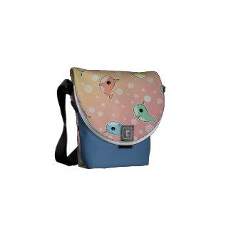 Fat Rainbow Narwhal Pattern Messenger Bag