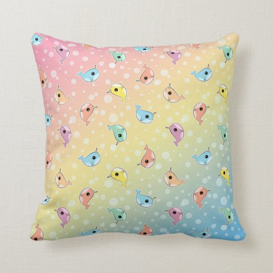 Fat Rainbow Narwhal Pattern Throw Pillow