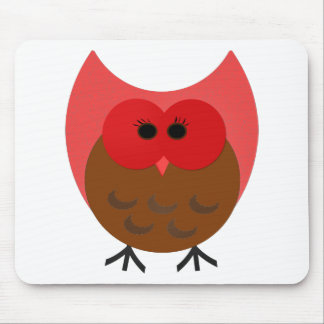 Fat Red and Brown Owl Vector Art Mouse Pad