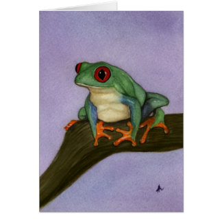 Fat Red Eyed Tree Frog Card