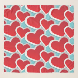 Fat Red Hearts Repeating Pattern Cute Scarf