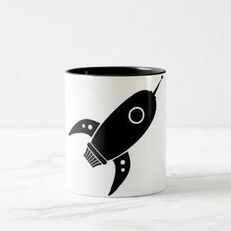 Fat Retro Rocket Ship Black Two-Tone Coffee Mug