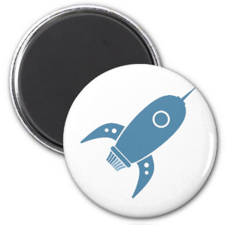 Fat Retro Rocket Ship Blue 2 Inch Round Magnet