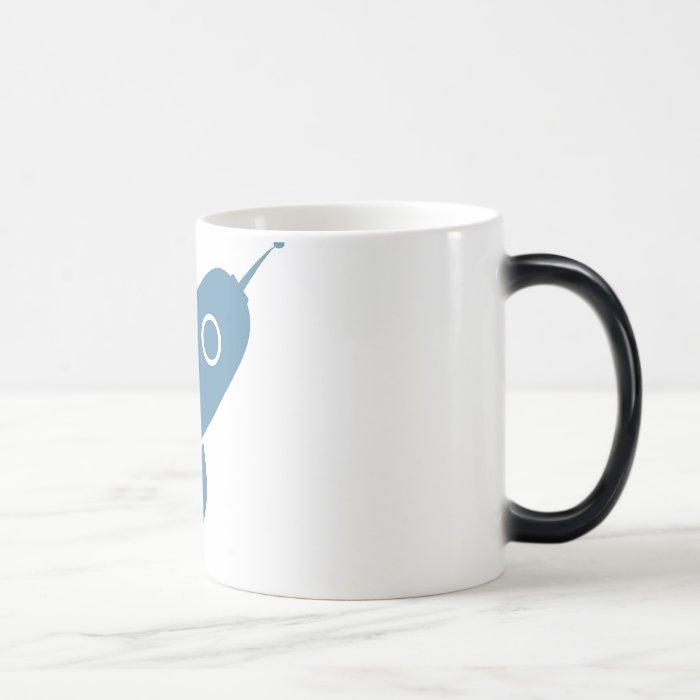Fat Retro Rocket Ship Blue Magic Mug