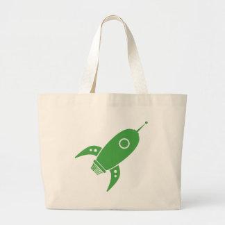 Fat Retro Rocket Ship Green Jumbo Tote Bag