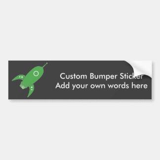 Fat Retro Rocket Ship Green Bumper Sticker
