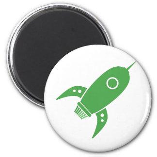 Fat Retro Rocket Ship Green Magnet