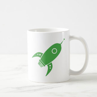 Fat Retro Rocket Ship Green Mugs