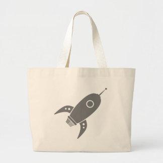 Fat Retro Rocket Ship Grey Gray Jumbo Tote Bag