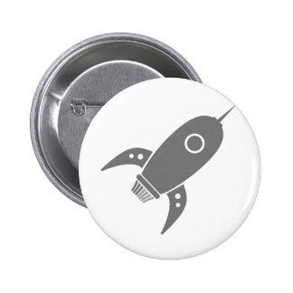 Fat Retro Rocket Ship Grey Gray Pin