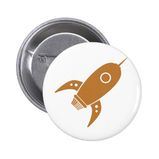 Fat Retro Rocket Ship Orange Pins