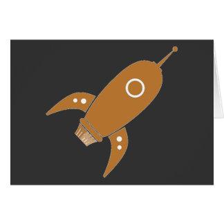 Fat Retro Rocket Ship Orange Card