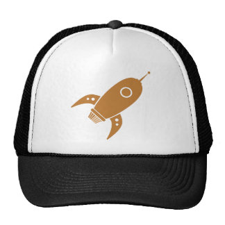 Fat Retro Rocket Ship Orange Trucker Hat