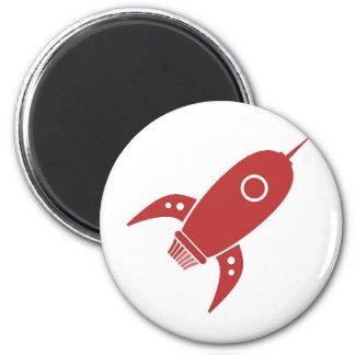 Fat Retro Rocket Ship Red 2 Inch Round Magnet