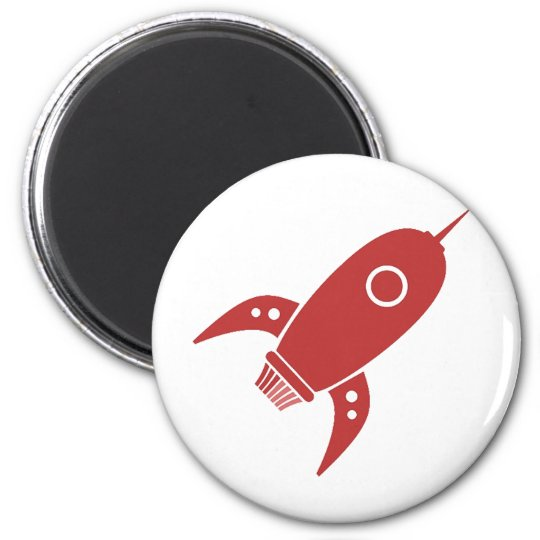 Fat Retro Rocket Ship Red 2 Inch Round Magnet