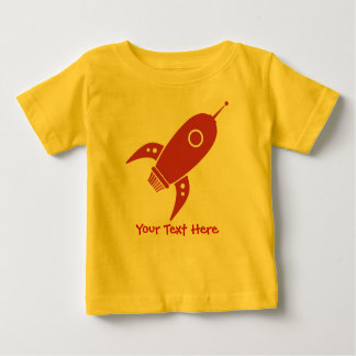 Fat Retro Rocket Ship Red Baby T-Shirt