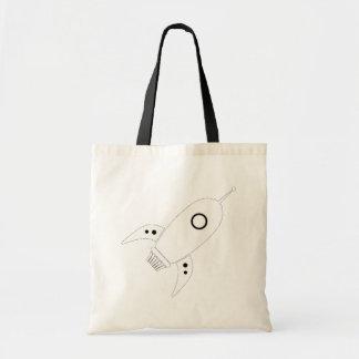 Fat Retro Rocket Ship White Budget Tote Bag