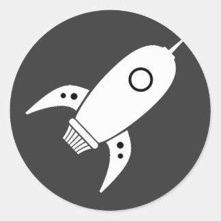 Fat Retro Rocket Ship White Classic Round Sticker