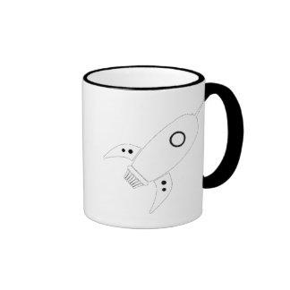 Fat Retro Rocket Ship White Coffee Mug