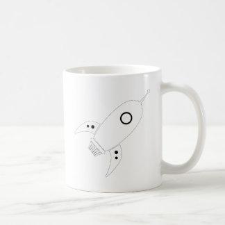 Fat Retro Rocket Ship White Coffee Mugs