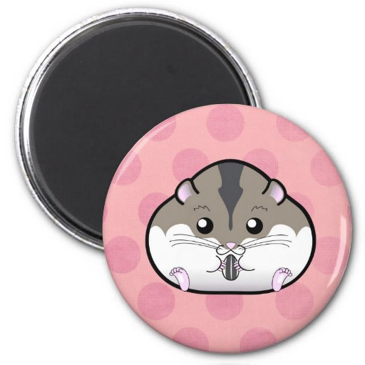 Fat Russian Dwarf Hamster 2 Inch Round Magnet