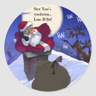 fat santa classic round sticker