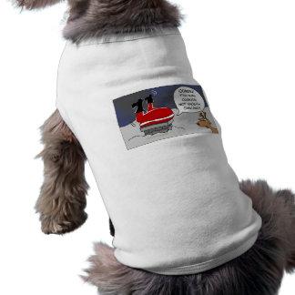 Fat Stuck Santa Funny Christmas Dancing Cartoon Dog T Shirt