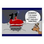 Fat Stuck Santa Funny Christmas Dancing Cartoon Greeting Card