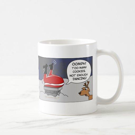 Fat Stuck Santa Funny Christmas Dancing Cartoon Mug