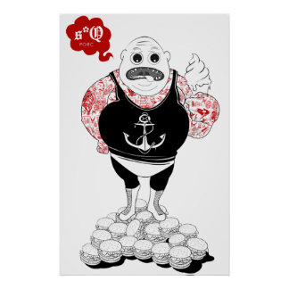 Fat Tattooed Wrestler Poster