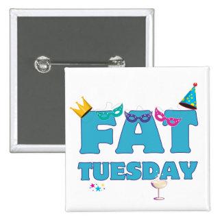 Fat Tuesday Mardi Gras 2 Inch Square Button
