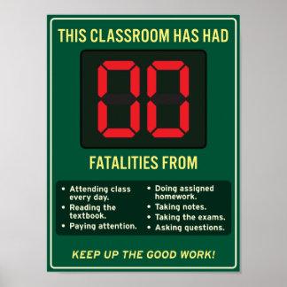 Fatalidades cero de buenos hábitos de la sala de póster