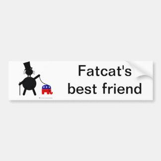 Fatcat and Republican Elephant Car Bumper Sticker