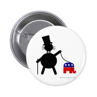 Fatcat y elefante republicano pin redondo de 2 pulgadas