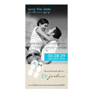 fatfatin Aqua Flip Flops Save Date Announcement Customized Photo Card