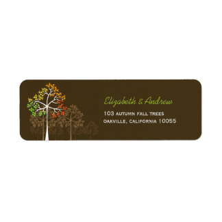 fatfatin Autumn Fall Trees Brown Address Labels